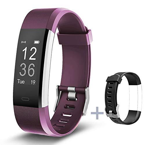 Lintelek Fitness Armband Fitness Tracker Smartwatch Fitness Uhr Schrittzähler Smart Watch Pulsmesser Schlafmonitor Wasserdicht Benachrichtigungen Sportuhr Gift