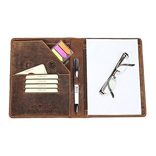 0da1fdf0b4d3a Greenburry Leder-Schreibmappe A5 Vintage - DIN A5-Konferenzmappe aus Leder  - Vintage A5