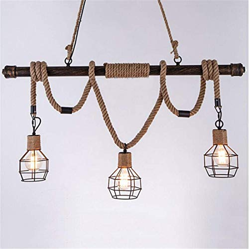 Chandelierrope Pendant Light Industrial Ceiling Light 3 Lights In Dark Bronze With Cage Guard