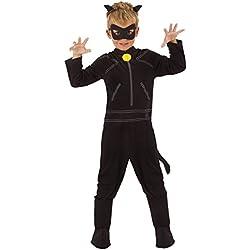 Ladybug Disfraz Cat Noir Classic infantil, M (Rubie's Spain 640904-M)