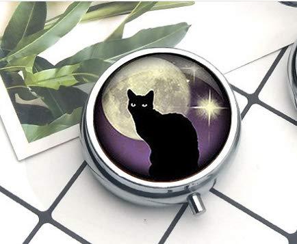 bab Black Cat Schlüsselanhänger Schwarze Katze und lila Schlüsselanhänger, Schwarze Katze und lila Schlüsselanhänger The Pillbox