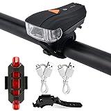 USB wiederaufladbare Fahrradlampe Set, Gusspower super helle Front und hintere LED Fahrrad Licht Set, 3 Modi Frontlicht, wasserdicht, Passt alle Fahrräder