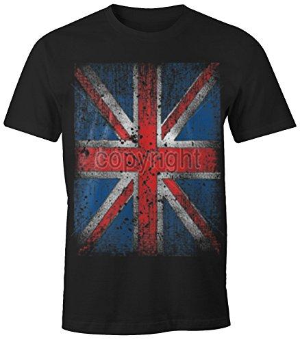 Herren T-Shirt UNION JACK Flagge England Großbrittanien British Flag Grunge Vintage Schwarz