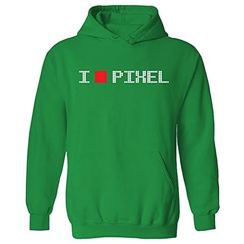 Mens I Love Pixel Geek Nerd Gamer Retro Funny Pullover Hoodie Green (XXL)