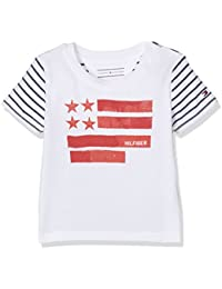 Tommy Hilfiger Flag Cn Tee S/S, Camiseta para Bebés, Blanco (Classic White), 74