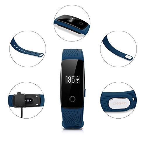 DIGGRO ID107 – Fitness Armband mit Herzfrequenz Sensor (OLED Display, Smart Armband Fitness Tracker mit Pulsmesser Aktivitätstracker Schrittzähler Schlafanalyse Kalorienzähler für ios Android) - 6