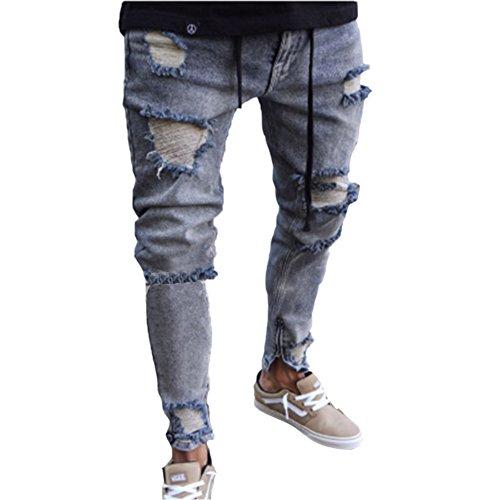 lim Fit Stretchable Zipper Biker Ripped Abraised Denim Trousers Fashion (Gray) (Weihnachts Outfits Für Junioren)