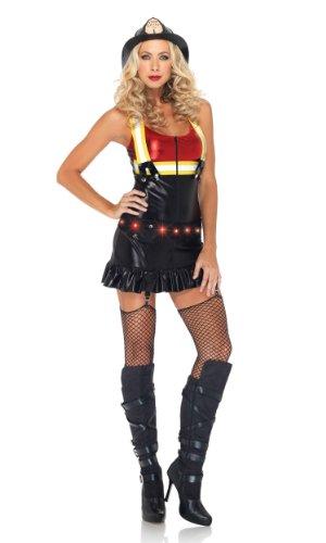 Rote Kostüm Sexy Feuerwehrmann - Leg Avenue 83899 - Hot Spot Honey Kostüm Set, Größe S, schwarz/rot