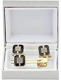 Cufflinks Set For Men Combo Square Cufflinks Black With Cufflinks Diamond Cuff Link & Tie Pin Set