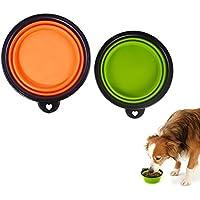 Bello Luna Cuenco plegable para perros, 2 piezas Cuencos flexibles de agua de silicona para mascotas pequeñas y grandes Cuenco portátil de viaje con mosquetón gratuito