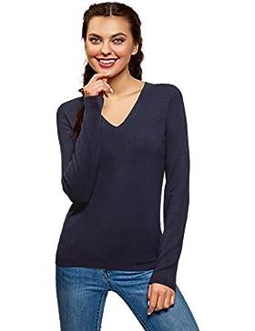 oodji Collection Mujer Suéter de Punto con Cuello Pico