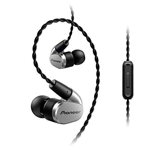 Pioneer SE-CH5T(S) Hi-Res Audio In-Ear Kopfhörer (Over-the-ear Kabel, verschlaufungsfrei, Flechtdesign, Bedienelement, Mikrofon, Rufannahmefunktion, für iPhone, Android Smartphones), Silber - Audio-kabel Pioneer