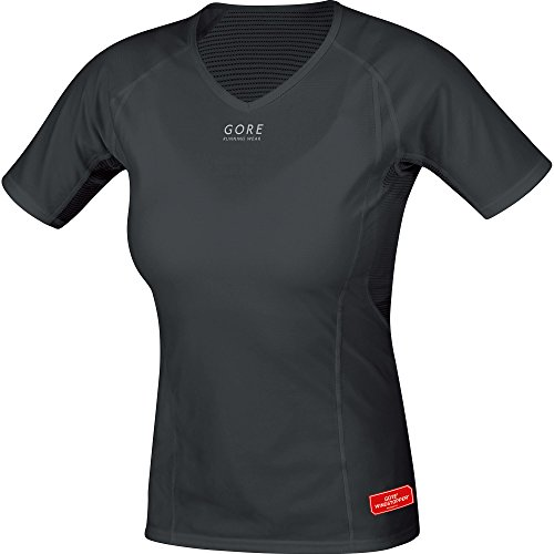 GORE WEAR Damen Kurzarm Essentials Base Layer Windstopper Shirt Black, 42