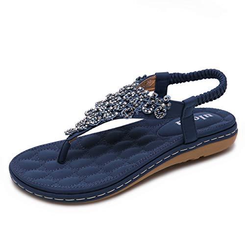 Sandalen Damen Sommer Flip Flops Bohemian Flach Zehentrenner mit Strass, Blau, 38 EU (Rote Buffalo Jeans)