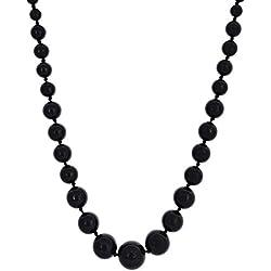 Kastiya Jewels Black Onyx Semi Precious Gemstone Beads Necklace For Women