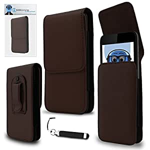 iTALKonline WileyFox Storm 4G Brown PREMIUM PU Leather Vertical Executive Side Pouch Case Cover Holster with Belt Loop Clip and Magnetic Closure and Re-Tractable Captive Touch Tip Stylus Pen with Rubber Tip