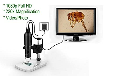 Mustcam 1080P Full HD Digital Microscope, HDMI Microscope, grossissement 10x-220x