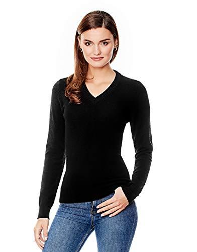 Vincenzo Boretti Damen Pullover V-Ausschnitt V-Neck modern elegant Chick edel weich Strick-Pullover schwarz M