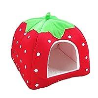 Gowind6 Pet Nest Strawberry Soft Cashmere Cat House Foldable Non-slip Puppy House Puppy Rabbit Cave Portable Sleeping Bag (L)