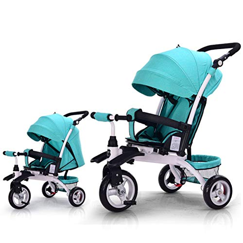 GSDZSY - Baby Tricycle Carriage Stroller 3 Wheel Bike,3 In 1 With Removable Push Handle Bar,Rubber Wheel (non-inflated), Deformable And Adjustable,0-6 Years,A  GSDZSY