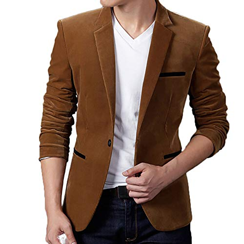 Battnot Herren Anzug Slim Fit Corduroy Jacke, Männer Mantel für Hochzeit und Party Business Lässige Langarm Regular Fit Frühling Herbst Winter Blazer Mens Top Coat Outwear Khaki Rot Marine M-3XL -