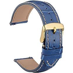 WOCCI 20mm Liberación Rápida Correa de Reloj de Cuero Repujado, Hebilla de Oro (Azul Oscuro)