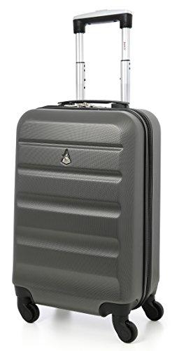 Aerolite Leichtgewicht ABS Hartschale 4 Rollen Handgepäck Trolley Koffer Bordgepäck Kabinentrolley Reisekoffer Gepäck, Genehmigt für Ryanair , easyJet , Lufthansa , Jet2 und viele mehr , Kohlegrau
