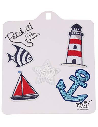 Leslii Bügel-Bilder Maritim Bügel-Patches Kinder Erwachsene Anker Leuchtturm Fisch Schiff Stern Blau Rot 5er Set Textil -
