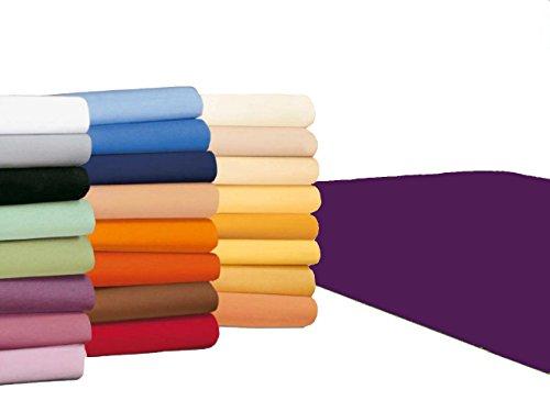 badtex24 Spannbettlaken 90 100 x 200 Spannbetttuch Bettlaken Jersey 100% Baumwolle 20 Farben Aubergine 90x190-100x200cm