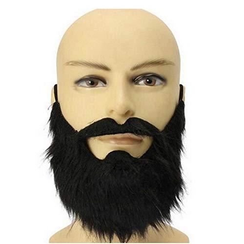 Mit Gesichtsbehaarung Kostüm - YAX Masken Mode 1 Stück Lustige Kostüm Party Männlichen Mann Halloween Bart Gesichtsbehaarung Verkleidung Spiel Schwarz Schnurrbart Maske