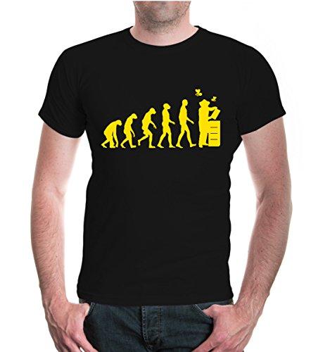 buXsbaum Herren Unisex Kurzarm T-Shirt Bedruckt The Evolution of Beewhisperer | Bienenzüchter Imker Bienenflüsterer | L Black-Sunflower Schwarz