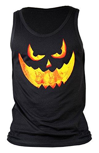 Halloween Herrenshirt - coole Sprüche / Motive für Halloween : Halloween Pumpkin -- Herren Trägershirt Grusel Gesicht Kürbis Gr: XL (Schnitt Gesicht Halloween Kürbis)