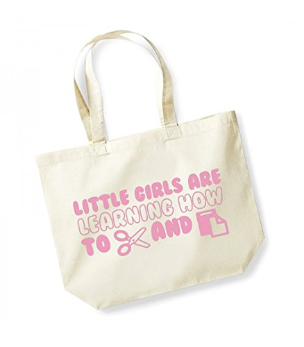 Little Girls Are Learning How to Cut and Paste -Large Canvas Fun Slogan Tote Bag Natural/Pink