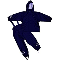 Elka - Traje para lluvia, pantalones + chaqueta para niños, diseño de rayas y colores simples, muchas tallas, 220 g/poliéster, Blusa, Bebé-Niños, color marine, tamaño Talla única
