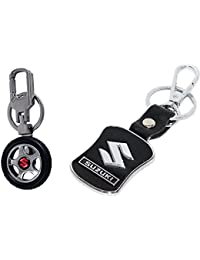 Gratitude Combo Of Maruti Suzuki Car Logo Rotating Tyre Shape & Leather Black Locking Keyring Key Chains