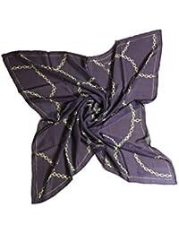 FERETI carré foulard soie main roulé marron et ... aa1a9cdcce3