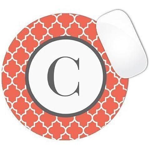 Orange Color Background with White Wave Swirls and White Circle MONOGRAM CUSTOM NAME Mouse Pad (ROUND)