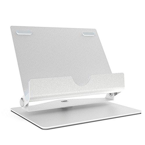 Universal Tablet Ständer Handy Halter, Bidear Desktop verstellbare Metall iPad Ständer Multi-Winkel iPhone Halterung für Telefone und Tablets innerhalb von 3,5-12 Zoll (Silber)