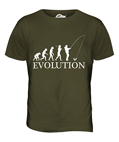 CandyMix Angeln Fischfang Evolution Des Menschen Herren T Shirt Khaki Grün