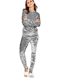 Hose Jogginganzug DE 2tlg Damen Schulterfrei Trainingsanzug Bauchfrei Crop Top