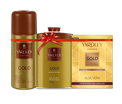 Yardley Gold Kit(Yardley Gold Body Spray for Men, 150ml+Yardley Gold Talcum Powder, 250g+Yardley Gold After Shave Lotion, 50ml)