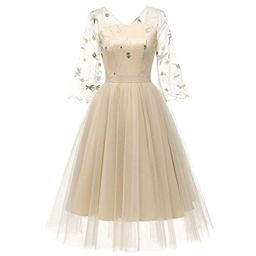 MIRRAY Damen DREI Viertel Vintage Prinzessin Blumenspitze Cocktail V-Ausschnitt Party Aline Swing...