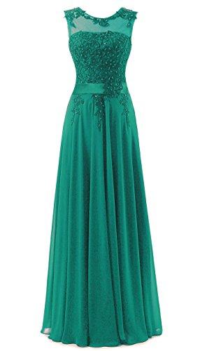 Vantexi Damen Spitze Chiffon Lang Formale Abendkleid Ballkleid Festkleider Smaragd Größe 40