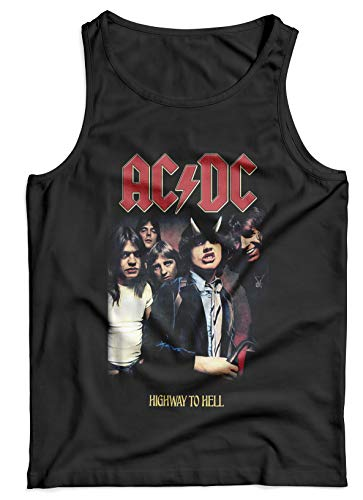 LaMAGLIERIA Tank Top Herren ACDC - Ac/Dc Highway to Hell - 100% Baumwolle Rock Band, S, Schwarz - Dc Tank Top Ac