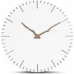 FlorLife Wanduhr, kreativ, rund, leise, Holz, flüsterleise, Dekorative Uhr, Kunst, Einfache weiße Wanduhren für Zuhause, AA Batterie Uhrwerk Toskanisch Pointer-2