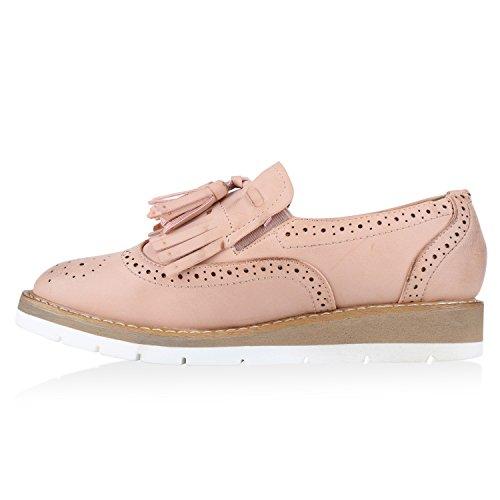 Damen Lack Slipper Loafers Metallic Quasten Schuhe Profilsohle Rosa Fransen Quasten