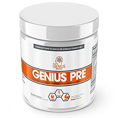 Genius Pre Workout – All Natural Nootropic Preworkout Powder & Caffeine-Free Nitric Oxide Booster with Beta Alanine and Alpha GPC - Focus, Energy and Muscle Building Supplement, Grape Limeade, 338G from The Genius Brand