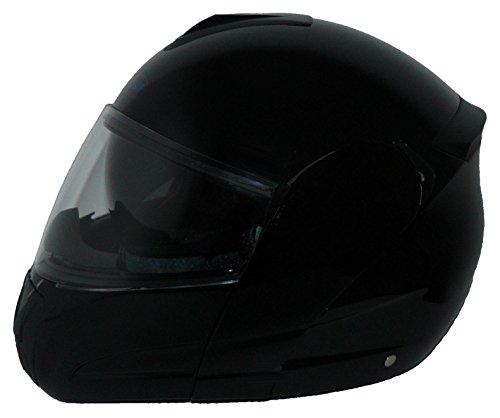 protectWEAR KH-V210-GL-S Motorradhelm, Integralhelm, Klapphelm mit Integrierter Sonnenblende, Größe S, Glänzend Schwarz