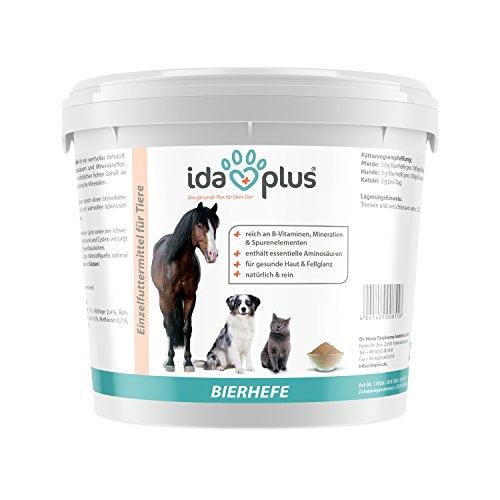 Ida Plus reine BIERHEFE Pulver - Nahrungsergänzung für gesunde Haut & Fellglanz - Naturprodukt für Tiere - Pferde, Hunde, Katzen - Praktischer Dosierlöffel inklusive (3 Kg)