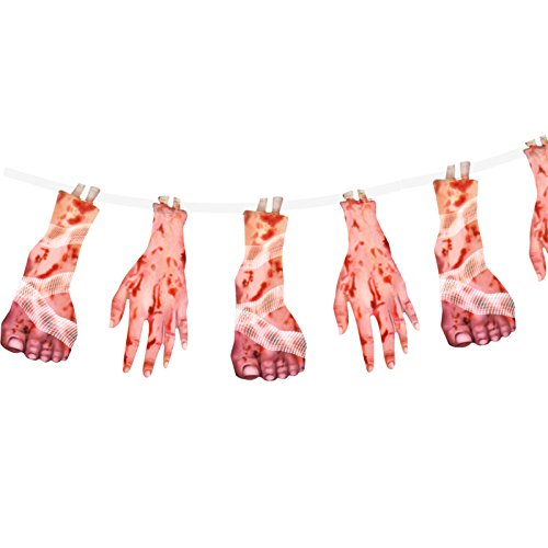 German Trendseller® - Girlande Blutige Füße und Hände ┃ 180 cm ┃ * Extra Blutig * ┃ Halloween ┃ Horror┃ (Ideen Deko Cupcake Halloween Für)